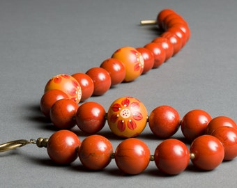 Orange Stone Necklace with Rust Red Jasper, Handpainted Wood - Flower Market