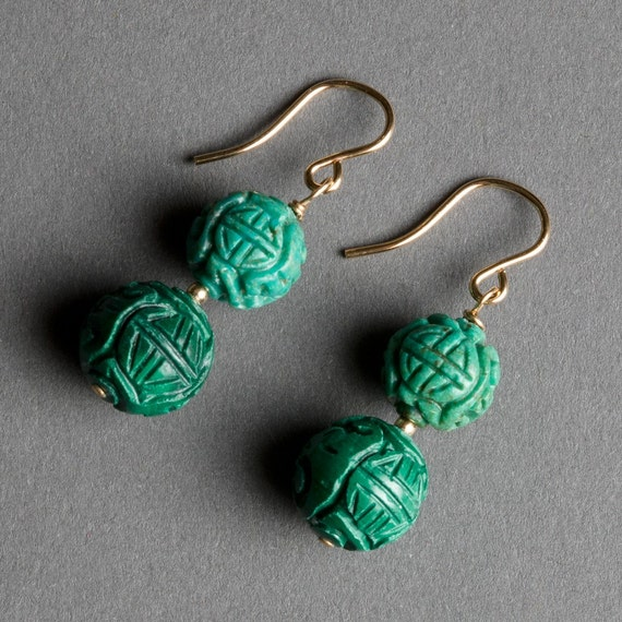 Green Malachite and Turquoise Earrings with Gold - Stormy Sea