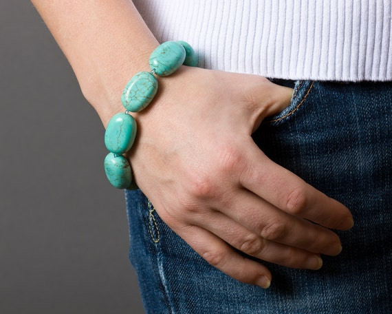Turquoise Bracelet with Blue Topaz, Fine and Sterling Silver - Snorkeling