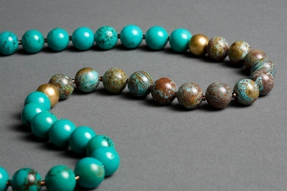 Turquoise Necklace with Vintage Brass, Calsilica - Marrakech