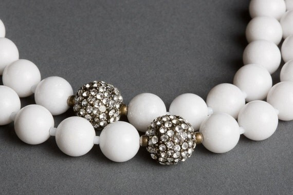White Dolomite Necklace with Bronze Crystal Fireballs - Nine Streets