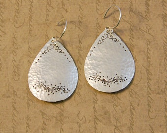Large Sterling Silver Teardrop Earrings with Texture Details