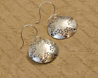"""7/8"""" Sterling Silver Hammered Disk Earrings with Whimsical Scroll Texture Details"""