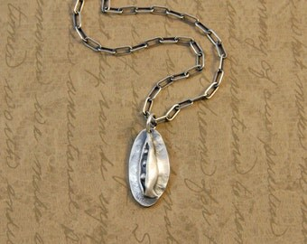Fine Silver Whimsical Peas in a Pod Charm Pendant