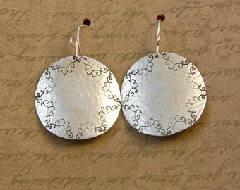 Sterling Silver Large Hammered Scroll Disk Earrings