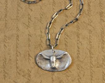 Fine Silver Rustic Longhorn Steer Charm Pendant