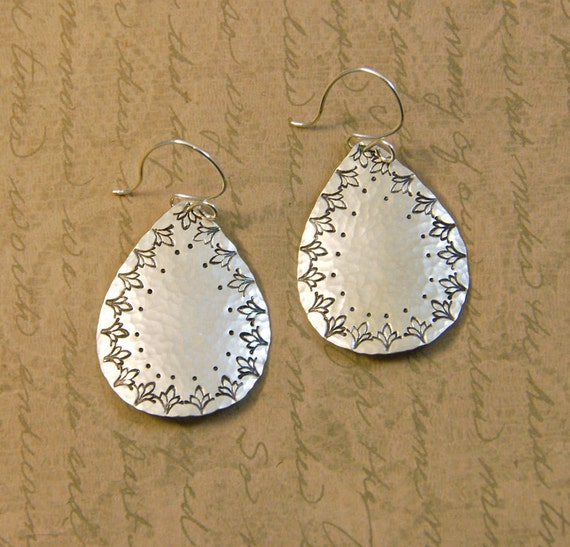 Sterling Silver Hammered and Textured Large Teardrop Earrings