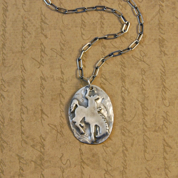 Fine Silver Rustic Bucking Bronc Charm Pendant, Wyoming, bronco, horse, rustic, cowboy, cowgirl, long box cable chain, sterling silver