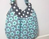 SALE 29.9 dollars - Gathered hobo bag - Sakura and polka dots on grey