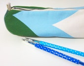 Blue & green - Zakka cotton canvas pencil case / brushes holder / make-up pouch