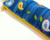 Slim pencil case or brush holder -  Birdies on branches