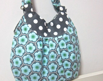 SALE 29.9 dollars - Gathered hobo bag - Sakura and polka dots on grey