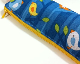 Slim pencil case or brush holder -  Birdies on branches