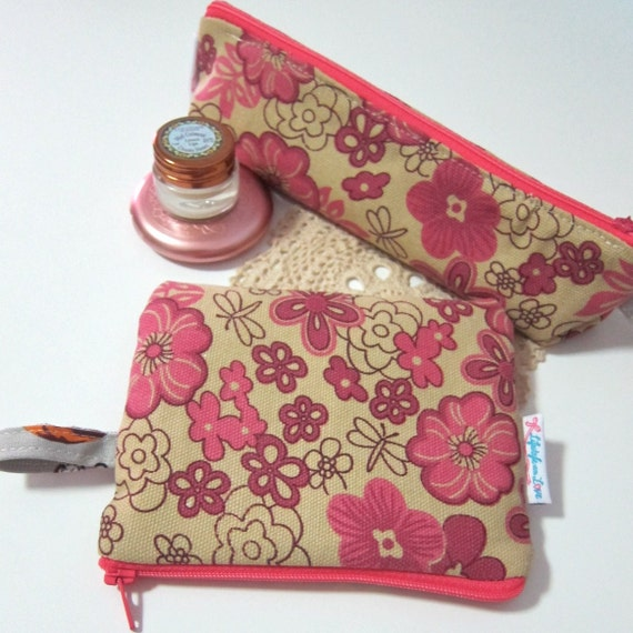 Set of 2 pouches -  Pink garden flowers