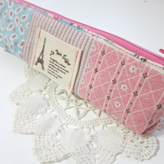 Slim pencil case or brush holder -  Zakka Shabby chic Eiffel tower