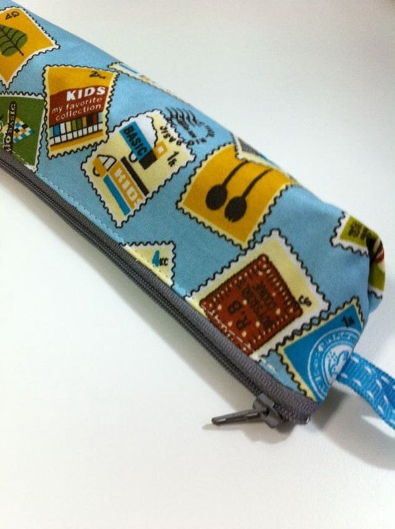 Slim pencil case or brush holder -  Cute stamps