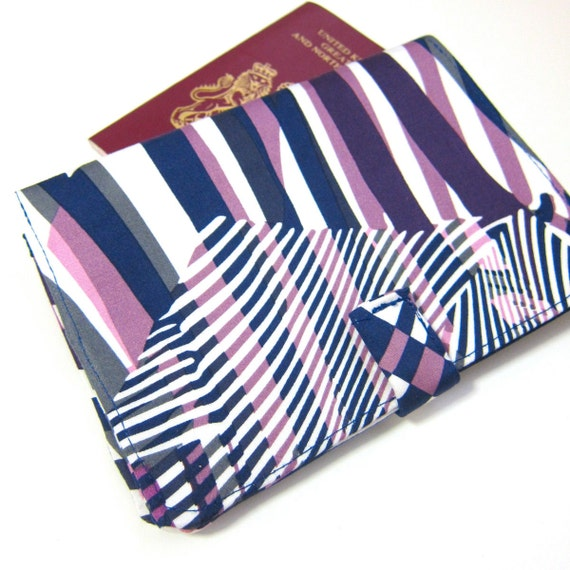 SALE 29.9 Chic abstract prints in purple and pink - travel wallet / travel organizer/ passport holder / cheque book cover