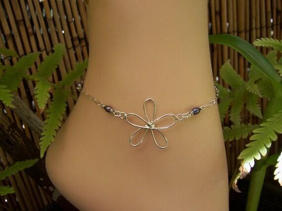 Silver Plumeria Anklet, Flower Anklet, Black Pearl Anklet, Sliver Anklet, Chain Anklet, Silver Ankle Bracelet