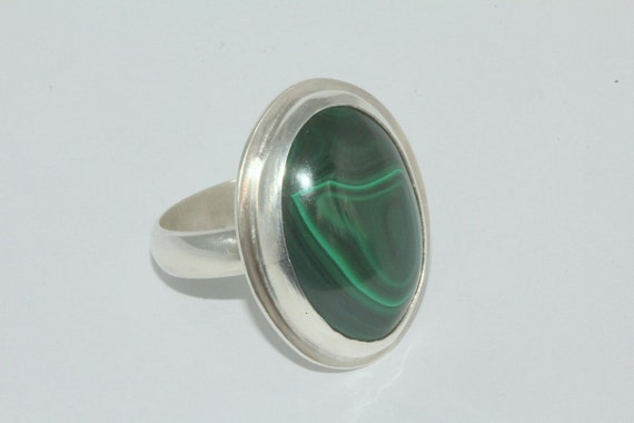 Mirror of the soul/ natural malachite and sterling silver Ring