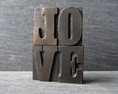 RESERVED for nickerbockernik - Still in LOVE   - Vintage Letterpress Word