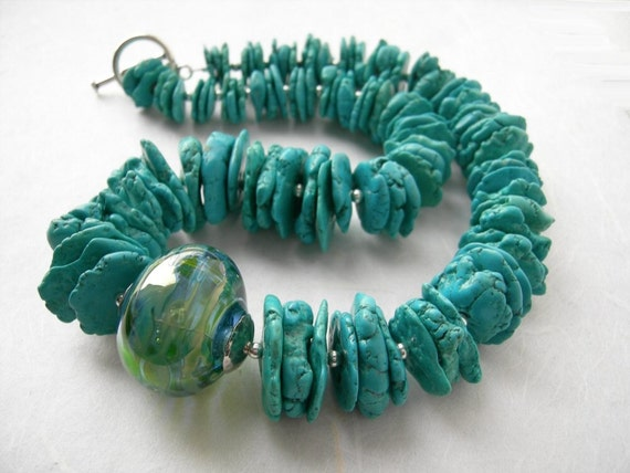 Sea Discs - Hollow Glass and Turquoise Necklace.