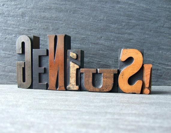 GENIUS - Vintage Letterpress Word