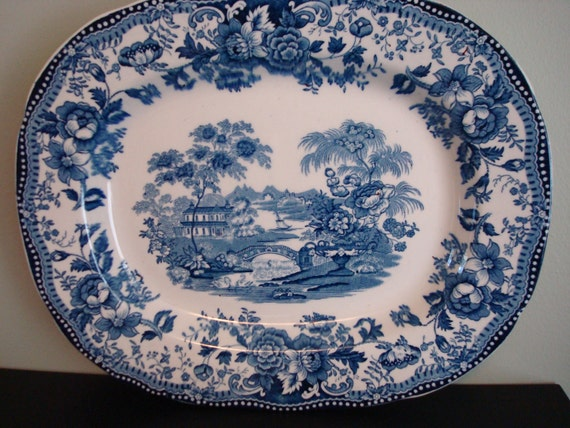 Vintage blue and white English platter