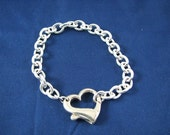 Impressive Sterling Silver Heavy Link Charm Bracelet with Large Heart Clasp