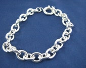 Classic Sterling Silver Charm Bracelet 9X7mm Oval Links with Large Clasp