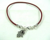 Leather Red String Bracelet with Sterling Silver Garnet Hamsa Charm