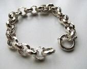 12mm Rolo Link Charm Bracelet, 6 inch, Hammered Sterling Silver 925