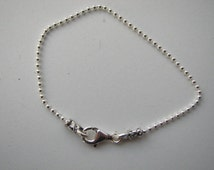 Wholesale Bracelets, 6 pcs Sterling Silver Ball Bracelets 7 1/2 inch with Lobster Clasp, Suitable for all types of charms