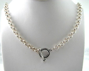 Amazing Sterling Silver 16 inch 7mm Heavy Rolo Choker Necklace with Toggle Clasp