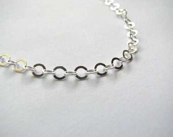 Sterling Silver 4mm Flat Cable Link Chain Necklace 24 inch