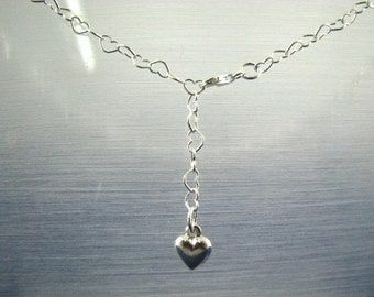 Dangling Heart Belly Chain Necklace 40 inch Adjustable