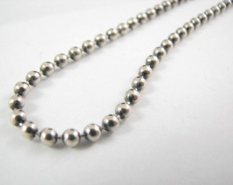 Sterling Silver 3mm Oxidized Ball Chain 16 inch Necklace, Vintage Look Oxide Ball Necklace
