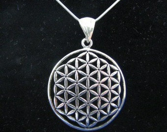 Original Sterling Silver Large Flower of Life Pendant and Chain