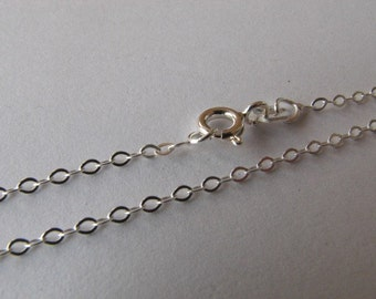 Sterling Silver 16 inch Flat Cable Link Chain Necklace