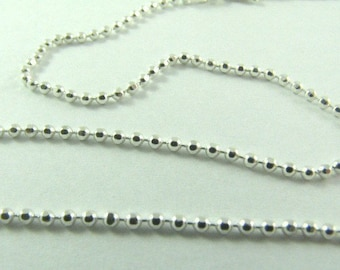 Fine Sterling Silver Diamond Cut Ball Chain 16 inch - 40 cm, 0.8 mm thickness