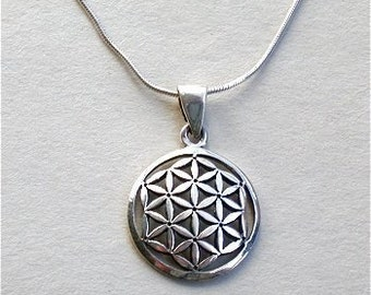 Flower of Life Pendant & Chain Sterling Silver Necklace