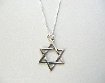 Star of David Necklace Sterling Silver Unisex