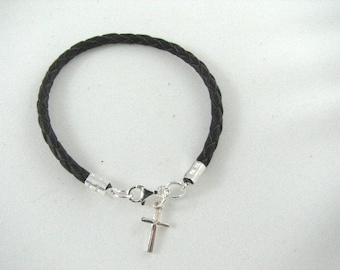 Braided Black Leather Bracelet with Sterling Silver Cross Charm