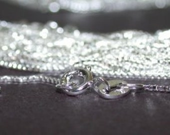 10 Sterling Silver 16 inch Box Chains 1mm Necklaces Wholesale