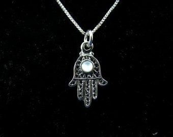 Sterling Silver Hamsa Hand Charm with Mother of Pearl Necklace