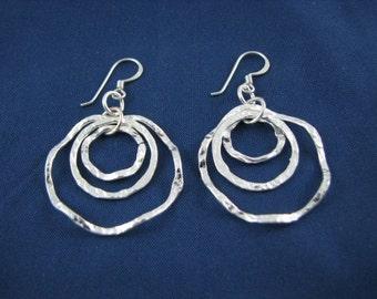 Hammered Sterling Silver 3 Layered Wavy Hoop Earrings