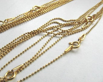 19 inch Gold Plate Diamond Cut Ball Chain Necklace