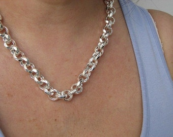 Hammered Sterling Silver 18 inch Rolo Chain Necklace 12mm Links