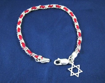 Kabbalah Red String Bracelet with Star of David Charm Sterling Silver