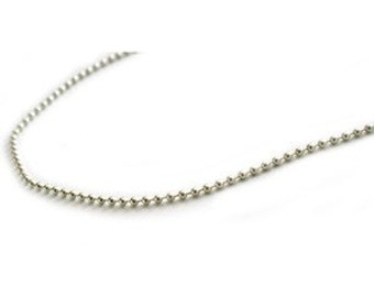 18 inch Sterling Silver 2mm Ball Chain Necklace with Lobster Clasp