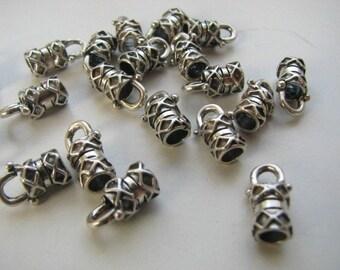 2 pcs Sterling Silver 4mm Large Crimp End Caps